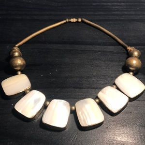 Large brass and mother of pearl statement necklace